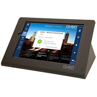 Aveo Systems' Mira Connect is a tabletop touch interface and control system for conference rooms, huddle rooms, and collaboration spaces.